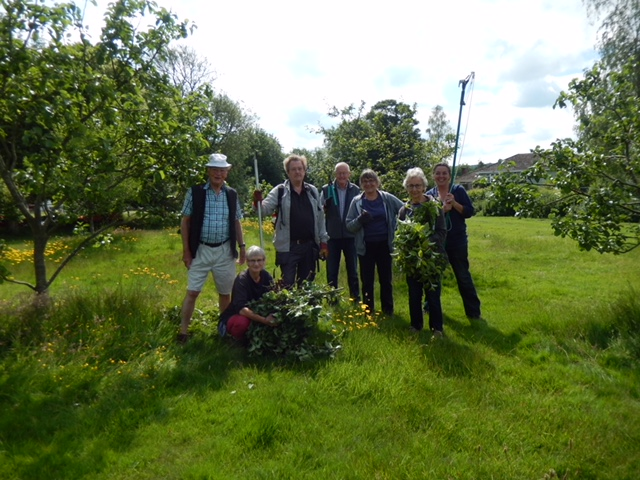Volunteers at the community orchard